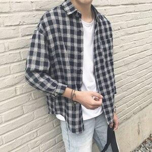 Image 2 - New Cotton Korean Style Clothe Fashion Streetwear Spring Summer Autumn Slim Fit Plaid Men Shirt Long Sleeve S 3XL