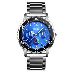 Homens Relógio de Quartzo Marca de Moda SKMEI Relógios Dos Homens Relógio de Pulso 50M Mens Pulseira de Aço Inoxidável À Prova D' Água Negócio Relógio Masculino