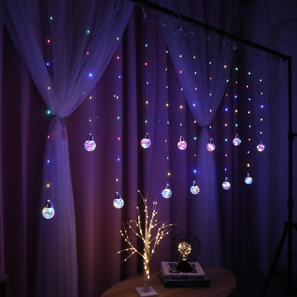 Remote Control Copper Wire Globe Bulb Window Curtain Lights USB Operated Crystal Wishing Ball Fairy String Light For Bedroom