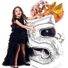 32 дюймов Большой Фольга на день рождения воздушные шары воздушные гелиевые шара с цифрой цифры Happy День рождения украшения Детские воздушные шары для дня рождения балон
