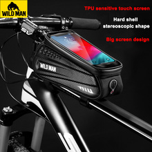 WILD MAN Front Frame MTB Bike Bag Waterproof Phone Touch Screen Bicycle Bags Hard Shell Cycling Top Tube Storage Accessories