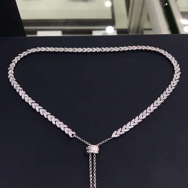 UMGODLY Luxus Marke Hohe Qualität Weiß Herz Weizen Ohren Halskette Micro Zirkonia Steine Frauen Mode Schmuck Neue Ankunft