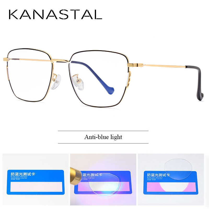 Kanastal Anti Biru Sinar Komputer Kacamata Kacamata Pria Anti Sinar Radiasi Eyewear Frame Metal Unisex Biru Sinar Kacamata