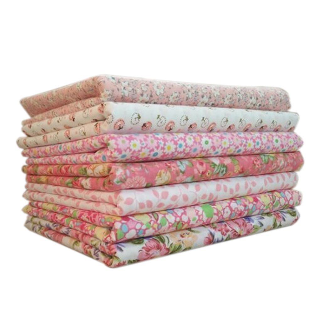 7pcs/set Cotton Fabric For Sewing Quilting Patchwork Home Textile Pink Series Doll Body DIY Handmade Accessories 25x25cm