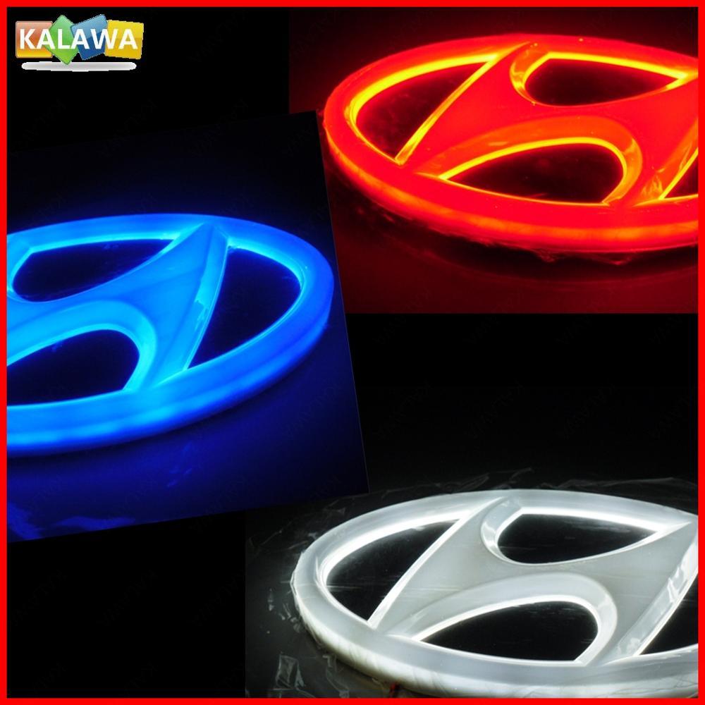 4D HYUN + DAI Front Rear Automobile LED Emblem Light Car Badge Logo IX35 IX35 SANTAFE I30 SONATA TUCSON GENESIS COUPE 1