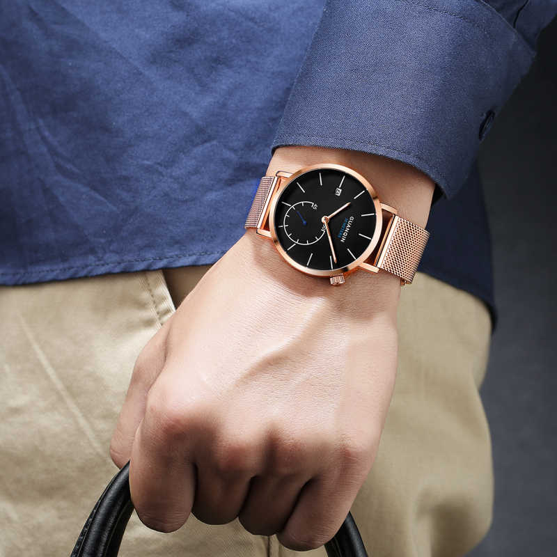 GUANQIN ساعات رجالي ماركات فاخرة شبكة حزام ساعة كوارتز رجالية موضة الفولاذ المقاوم للصدأ مقاوم للماء ساعة اليد relogio masculino