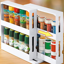 2 Tier Spice Rack Pull Out Kitchen Storage Rack Seasoning Jars Organizer Home Storsge Easy to install and Convenient