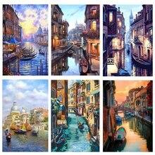 Gatyztory рамка diy Искусство Венеция Ночной пейзаж настенное