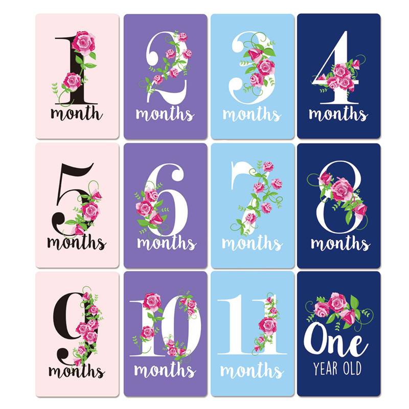 New Hot Sale 12 Sheet Baby Month Sticker Newborn Milestone Souvenirs Photography Photo Cards Moment Photo Cards Key Age Markers