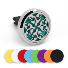 BOFEE Stainless Steel Essential Oil Aromatherapy Diffuser Locket Magnet Car Vent Clip Perfume Fragrance Jewelry 5PCS Pads 30MM bofee stainless steel magnet car essential oil diffuser locket aromatherapy perfume oil locket vent clip jewelry gift 30mm