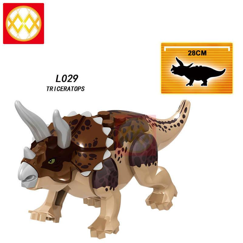 Free Shipping L022 Charlie Velociraptor Pteranodon Blue Echo Triceratops Dinosaurs World Building Blocks Children Toys  Juguetes