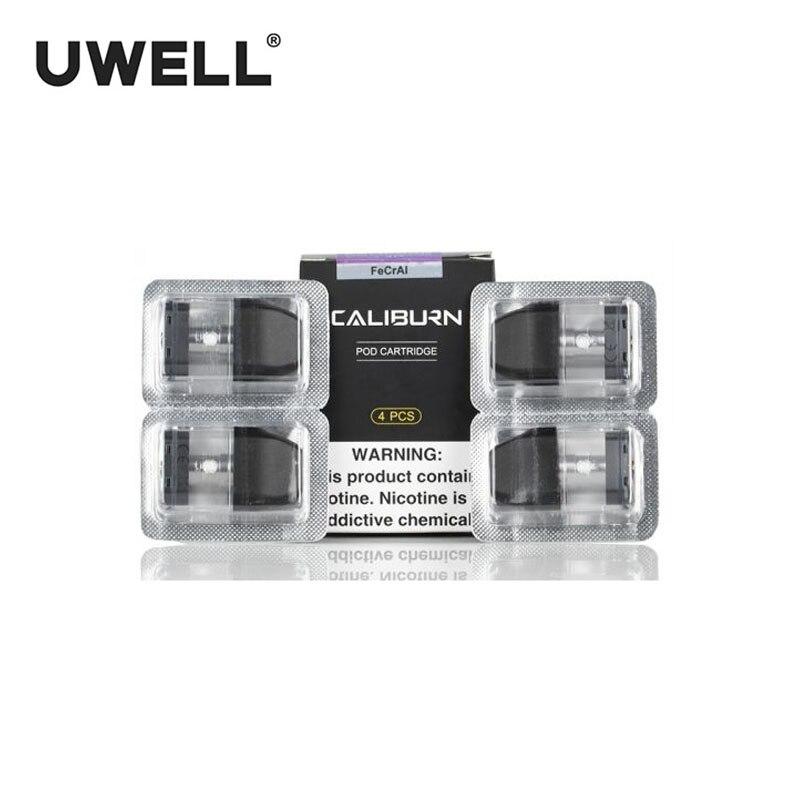 100% Original 4Pcs/Pack UWELL Caliburn Pod Cartridge 2ml Vape Pod For Caliburn Kit Electronic Cigarette Vape Pod