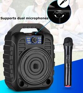 Ao ar livre portátil pa sistema bluetooth alto-falante & microfone sem fio karaoke máquina & fm rádio de gravação áudio controle remoto