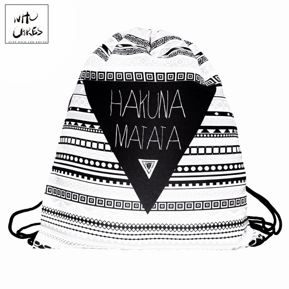 Who Cares 3D Printing Drawstring Bag Mini Backpack Women New Geometric Triangle Pattern Travel Bag Mochila Feminina Backpack