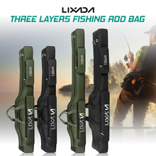 Lixada Fishing font b Bag b font Three Layers Portable Folding Carp Fishing Rod Reel Tackle