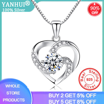 YANHUI New Luxury Crystal CZ Heart Pendant Choker Necklace 925 Sterling Silver Chain Necklaces For Women Wedding Jewelry Gifts