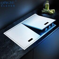 Nuevo fregadero de cocina, doble cubierta oculta individual, tamaño grande, acero inoxidable 304, 4mm de espesor, fregadero de cocina cepillado hecho a mano
