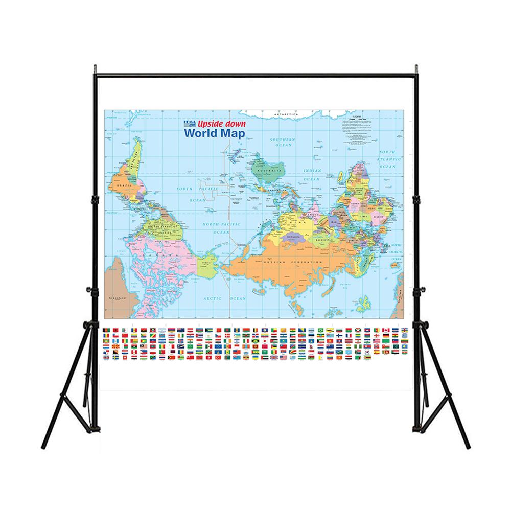 90X90cm Upside Down World Map With Flag Foldable Waterproof Non-woven World Map For Culture And Education