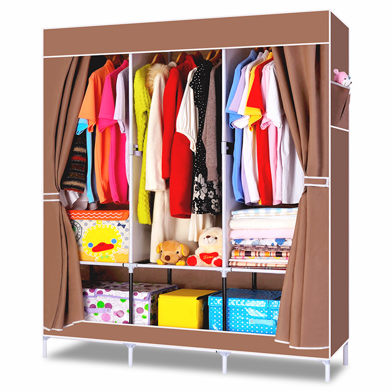 Simple Wardrobe Fabric Special Offer Cloth Wardrobe Steel Tube Reinforced Steel Frame Wardrobe Large Size Single Person Foldable