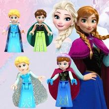 Набор из 4 предметов, Legoings, классические персонажи для девочек, Снежная королева, принцесса Эльза, Анна, строительные блоки, игрушки для детей, коллекция для девочек, подарки