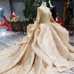 Image 4 - HTL151 golden puffy evening dress tulle o neck long sleeves special puffy skirt women occasion dress court train custom size