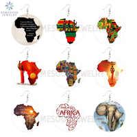 SOMESOOR-pendientes de madera con estampado de mapa africano para mujer, tocado con refranes negros, joyería étnica para mujer, regalo