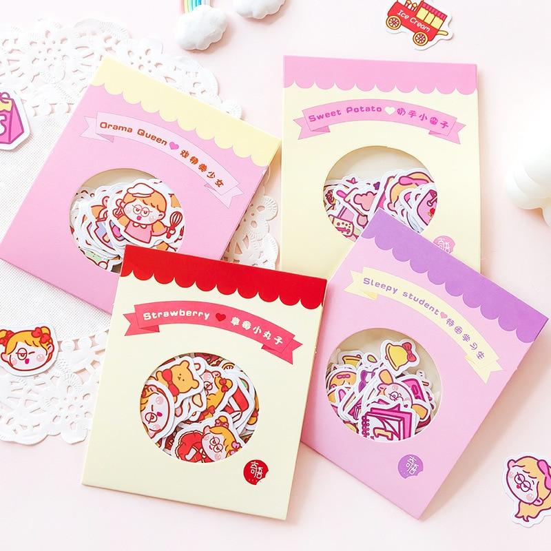 Mohamm 40Pcs Vitality Duck Series Stickers Decoration Cute Girl Diy Handbook Stationary School Suppl