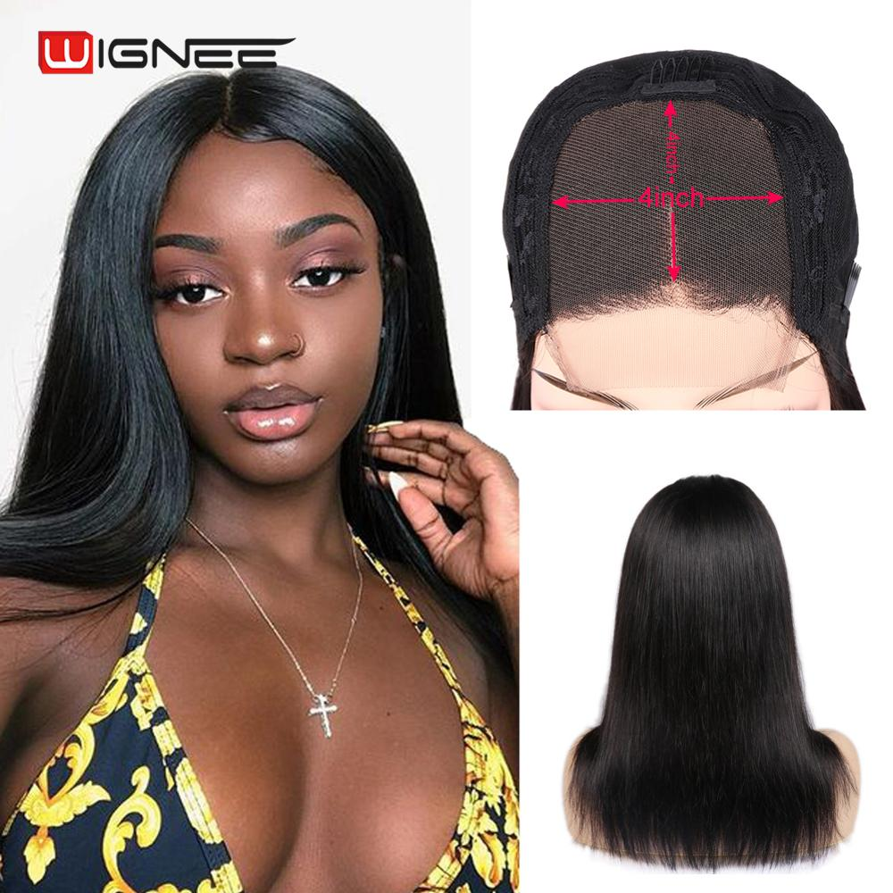 Wignee 4*4 Lace Closure Human Wigs With Baby Hair For Black Women Brazilian Remy Hair 150% High Density Glueless Lace Human Wigs