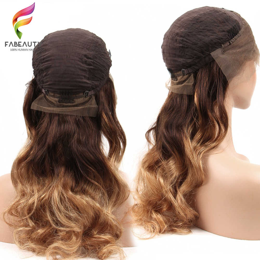 Ombre Blonde 13*4 Lace Front Pruik Braziliaanse Golvend 150% Gratis Deel Pre Geplukt Lace Front Menselijk Haar Pruik ombre 4/27 Remy Haar