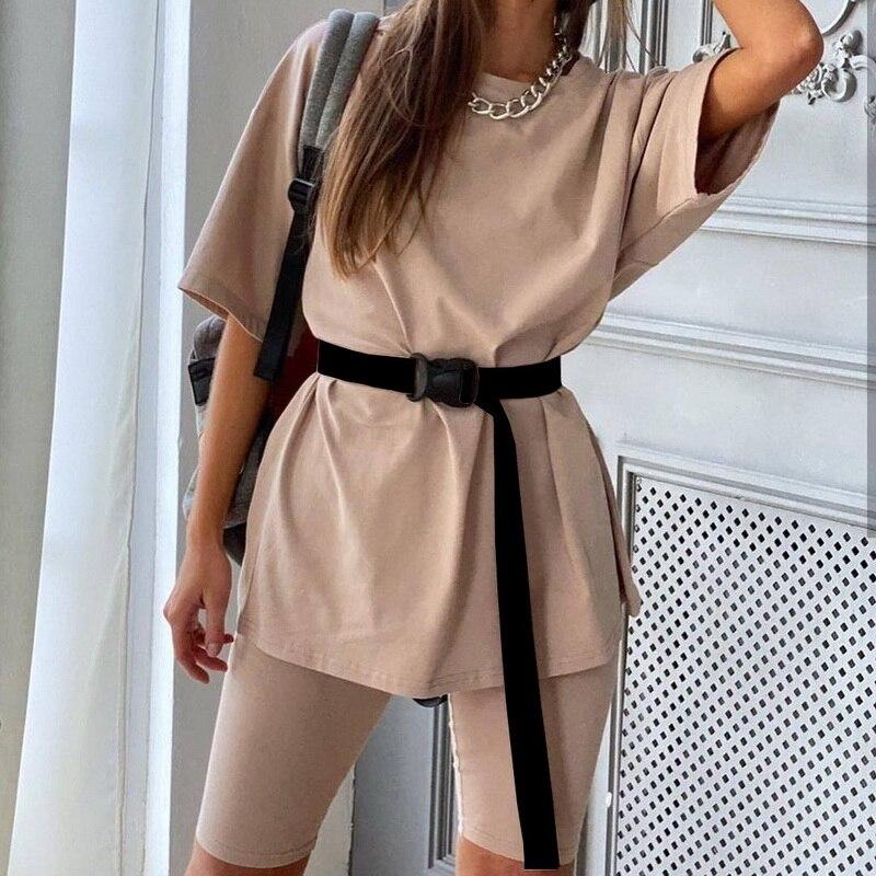 QRWR-Conjunto de dos piezas con cinturón para mujer, traje femenino informal, deportivo, holgado, a la moda, para verano, 2020