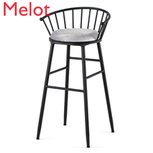 Nordic Bar Chair Light Extravagant Backrest Industry Iron Art Bar Counter Chair Commercial Furniture Modern Simplicity Cheap