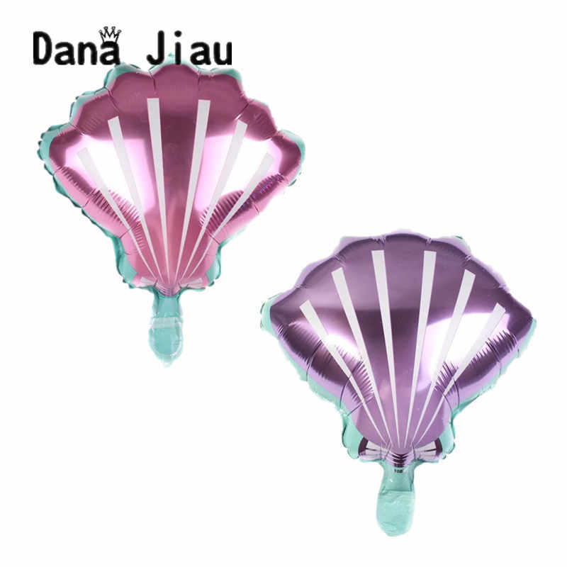 danajiau pink purple shell balloons ocean animal theme Birthday party Decoration ball kids toy baby shower Inflatable Foil Balls