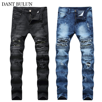 New Men's Jean Camouflage Patchwork Pants Slim Fit Pleated Biker Jeans Men Ripped Skinny Trousers Stretch Denim Pants Streetwear 2019 new style new men jeans blue color high quality patchwork casual pants slim fit brand streetwear stretch biker jeans men