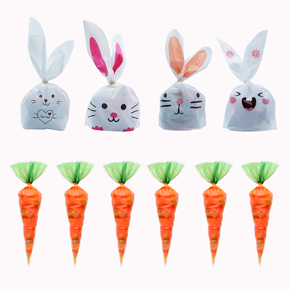 Hot Sale 20 / Batch Cute Rabbit Carrot Ear Biscuit Bag Candy Biscuit Gift Bag Snack Baking Packaging Supplies Easter Decoration