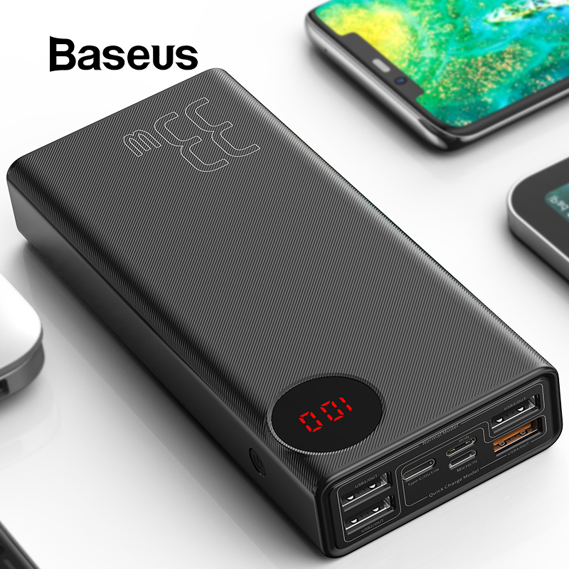 Baseus 30000mAh Power Bank USB Type-C PD Fast Charging For IPhone 11 Pro Max Samsung Quick Charge 3.0 Powerbank External Battery