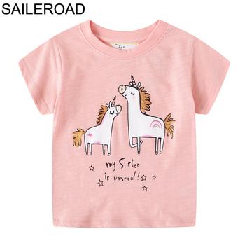 SAILEROAD t-shirty jednorożec Paillettes Girls topy t-shirty 2020 letnie koszule dziecięce dla dziewczynek ubrania bawełniane tanie i dobre opinie COTTON Europejskich i amerykańskich style Cartoon REGULAR O-neck Tees Krótki Pasuje prawda na wymiar weź swój normalny rozmiar