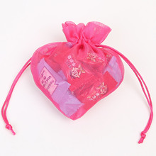 20pcs rose red three yarn drawstring bundle pocket couple gift bag peach shaped jewelry mesh gauze 15x15Cm