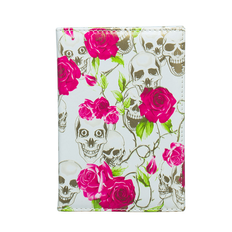 Zoukane Fresh Flowers Skull PU Leather Passport Holder Passport Case Passport Wallet Passport Clip Travel Accessories ZSPC46