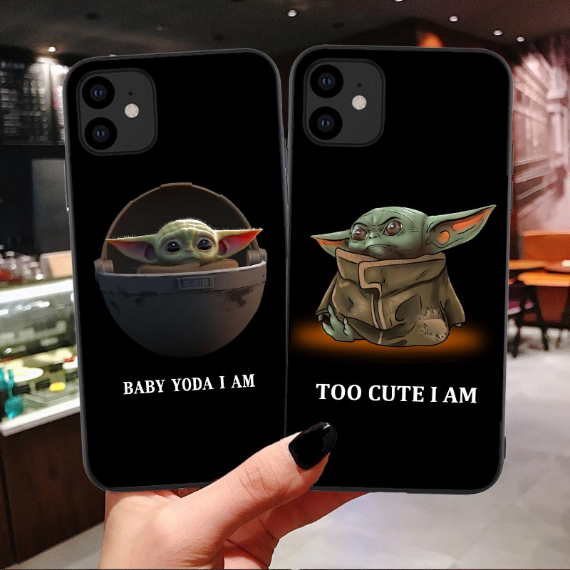 Lovely Baby Yoda soft <font><b>silicone</b></font> Phone <font><b>case</b></font> shell for <font><b>iPhones</b></font> 6 6s 7 8 Plus <font><b>X</b></font> XR XS Max 11 Pro Max The Mandalorian Black Tpu Cover image