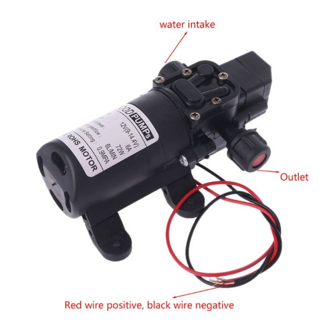 Intelligent Valve DC 12V 130PSI 6L/Min Water High Pressure Diaphragm Self Priming Pump 70W Hot