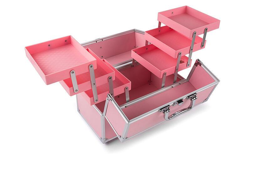 Women Large Capacity Makeup Organizer Suitcase Metal Toiletry Case Cosmetic Bag Beautician Storage Box Portable Makeup Suitcase