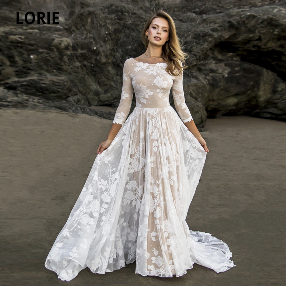 LORIE Champagne/ivory Lace Beach Wedding Dress Elegant Bohemian Open Back Bridal Gowns 3/4 Sleeves With Long Train Plus Size