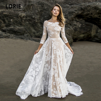 LORIE Champagne/ivory Lace Beach Wedding Dress Elegant Bohemian Open Back Bridal Gowns 3/4 Sleeves with Long Train Plus Size lorie half sleeves champagne wedding dresses with pocket elegant satin lace ball gown bridal gowns back illusion bride dress