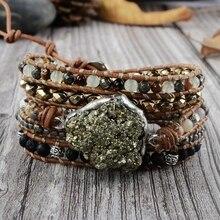 Необработанный пиритовый браслет в стиле бохо, женский кожаный браслет ручной работы с 5 нитями