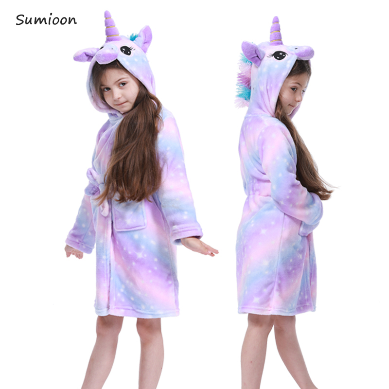 Cartoon Kids Robes Flannel Child Boys Girls Robes Animal Unicorn Hooded Bath Robes Long Sleeve Baby Boy Bathrobe Child Clothing