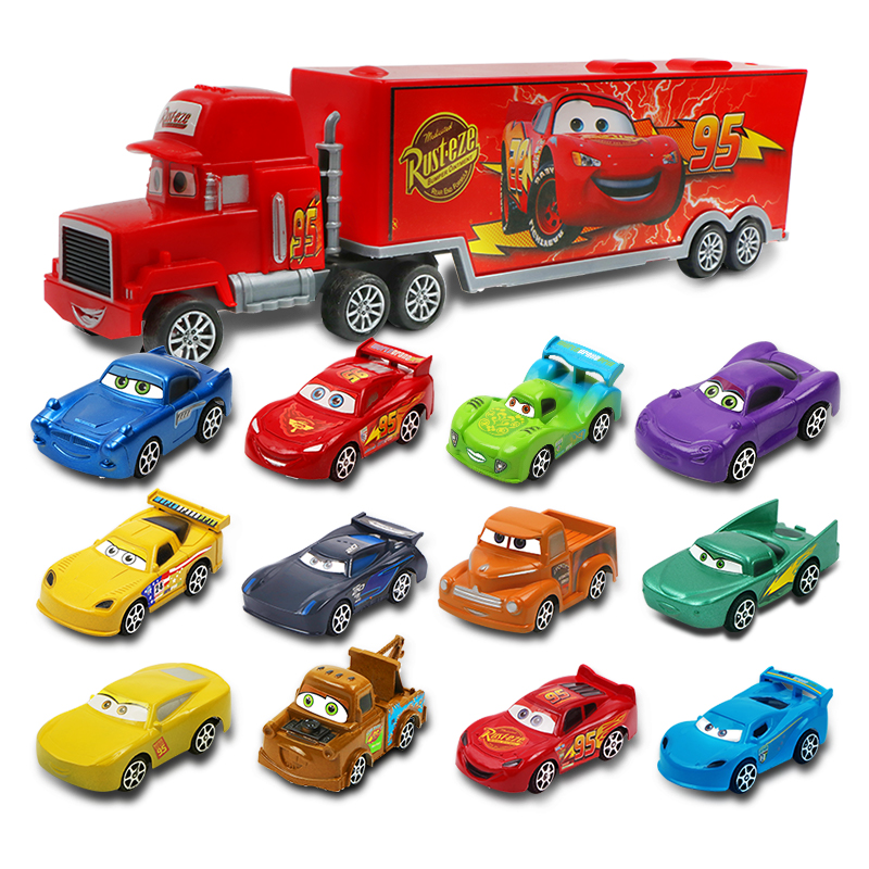 7pcs/set Disney Pixar Car 3 Jackson Storm McQueen Lightning Cruz Mack Uncle 1:55 Diecast Truck Model Car Toys For Kids Christmas