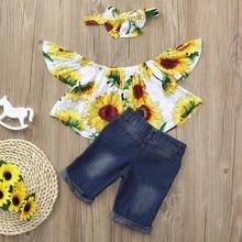 3Pcs Baby Kids Girls Off shoulder Crop Tops+Denim Shorts Jean+Headband Clothes Girl Dress Roupas De Bebe