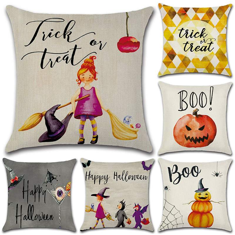 1pc 45x45m Halloween Pillow Case Cover Pumpkin Witch Pattern Pillow Cover Cushion For Home