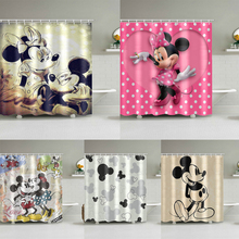 Mickey Shower Curtains Waterproof Polyester Fabric Bathroom Curtains For Home Decor Dropshipping beige polyester flannel europe embroidered blackout curtains for living room bedroom window tulle curtains home hotel villa