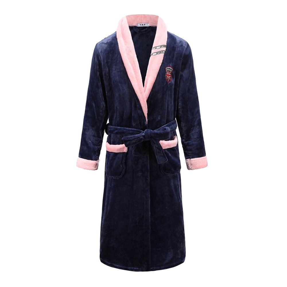 Sweetcouple Kimono Bathrobe Gown Coral Fleece Intimate Lingerie Navy Blue Home Dressing Gown Full Sleeve Sleepwear Nightgown